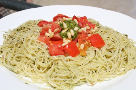 Pesto and Tomato Angel Hair Pasta