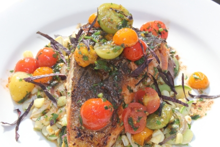 Salmon with Succotash and Cherry Tomatoes