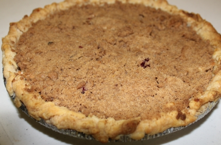 Apple Cranberry Crumb Pie made by Nancy, Amelia and Marie