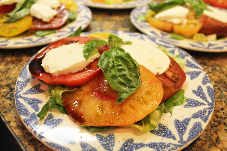 Sweet Heirloom Tomatoes in our Caprese Salad