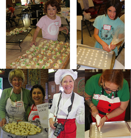 Nutmeg Log Team: Karen & Jeanine; Cherry-Coconut Drop Team: Izzy; French Macaroon Team: Emma & Doris; Cookie Chef, Patricia.