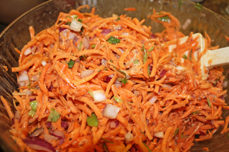 Latke mix - yams, carrots, red onion, cilantro