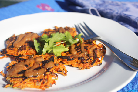 Yam and Carrot Latkes topped with Peanut Sauce