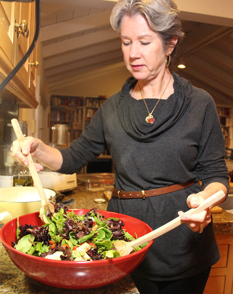 Patti of Worth the Whisk tossing her salad