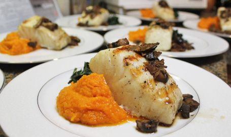 Seabass with Mushroom Sauce, Butternut Squash Puree and Sauteed Spinach