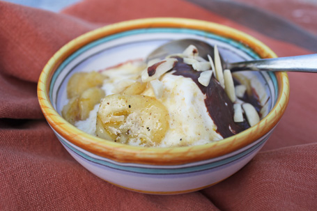 Vanilla Ice Cream with Hot Banana and Chocolate Sauces