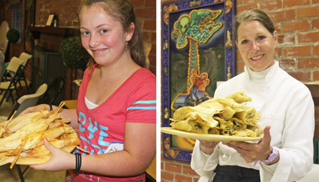 Sous Chef Emily and Chef Patricia presenting our Tamales