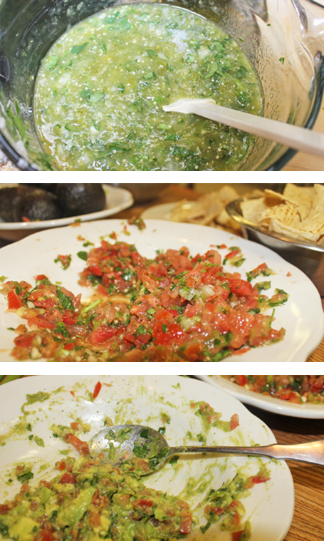 Freshly made sauces: Tomatillo, Tomato Salsa and Guacamole to feed the hungry troops.