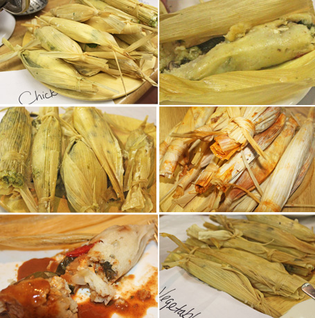 L to R: Chicken Tamales before steaming, Vegetarian Tamales, Chicken Tamales ready to eat, Pork Tamales, Tamales with Mole Sauce, Vegetable Tamales