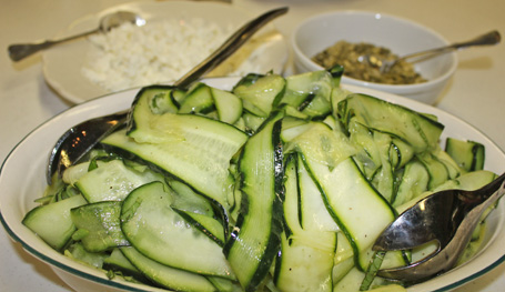 Cucumber Ribbon Salad with Goat Cheese & Pepitas