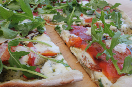 Grilled Pizza…no oven mess and a crisp crust!