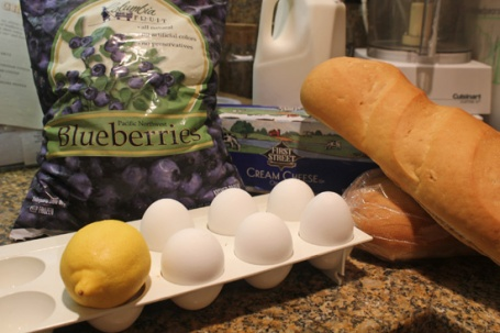 Ingredients for Blueberry Bread Pudding