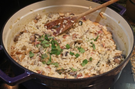 Wild Mushroom Risotto ready to be served