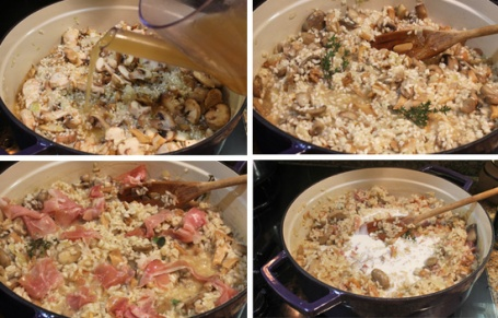 After cooking onions, and rice, add mushrooms, broth, sherry, prosciutto.  Just before serving add cream or more broth.