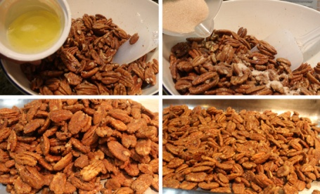 Making Candied Pecans - Adding Egg White, Adding Cinnamon Sugar, Before the Oven & After