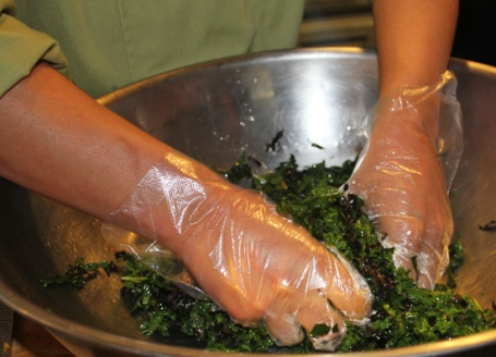Massaging Kale helps to break down the cells and wilt the leaves so that they become soft and sweet from tough and bitter.  Try it!