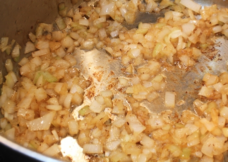 Sautee the onions in rendered bacon fat, pork fat from a ham or olive oil