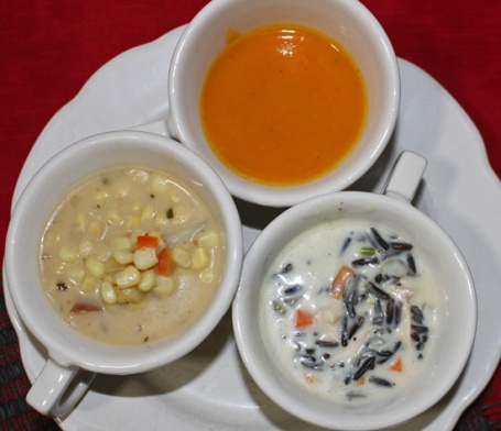 (L to R) Carrot Ginger Soup, Creamy Wild Rice Soup, Corn Chowder