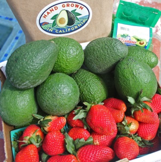 A great marriage - Perfect Oxnard avocados and strawberries