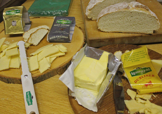 Kerrygold Cheddar Reserve, Aged Cheddar, Irish Butter and Dubliner Cheese served with Irish Soda Bread