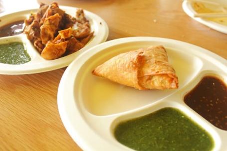 Samosas and Pakoras with Mint and Tamarind Chutneys