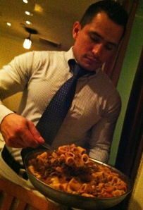 Becco's waiters offered fresh-made pasta from serving dishes
