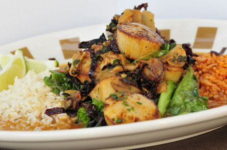 Border Grill's Sauteed Scallops with Toasted Ancho Chiles.  We will make this dish with Shrimp.