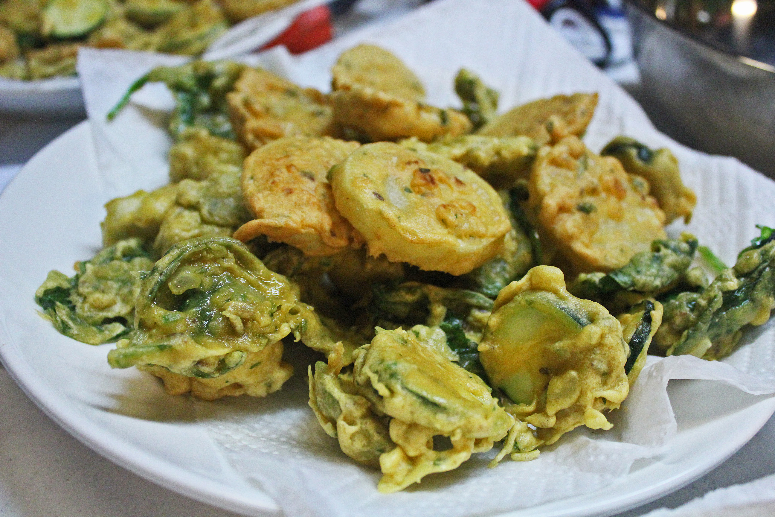 Pakoras = Indian Veggies fried in a Garbanzo Bean Batter