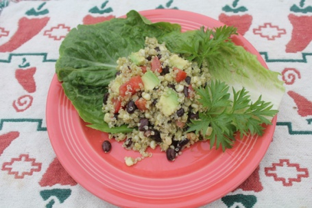 Plate your Southwestern Quinoa Salad on a bed of lettuce if you like.