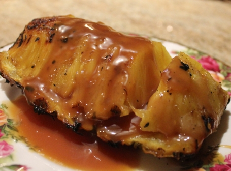 Grilled Pineapple wedges with Caramel Sauce