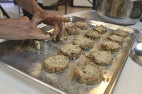 Form veggie burgers into slider-sized patties using a round cutter.