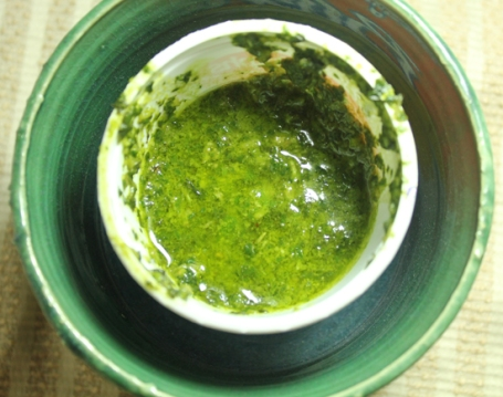 Fresh made pesto - garlic, basil, pine nuts and olive oil.