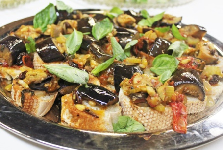 Caponata served on French baguette slices at our La Cucina Italiana cooking class.
