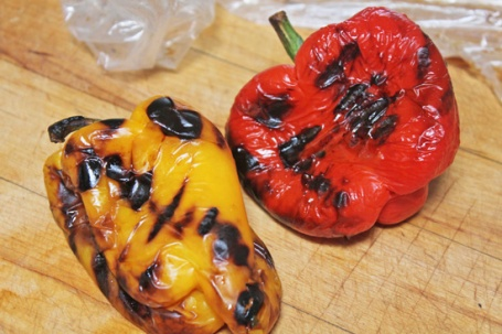 Roasted peppers are ready.