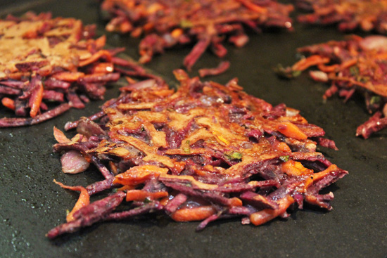 Purple Sweet Potatoes & Carrot Latkes