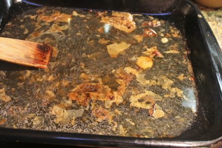 Add water to the roasting pan and stir up all the flavorful stuff.  Strain this and use the liquid for the gravy.