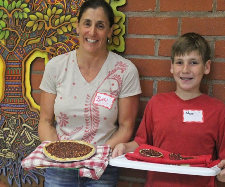 Mother and Son, Beth and Adam showing off their pies in our Pie Cooking Class.