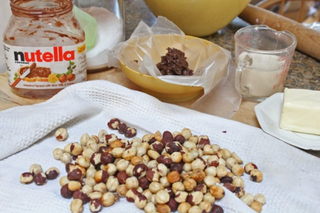 Ingredients for Chocolate Caramel Hazelnut pie