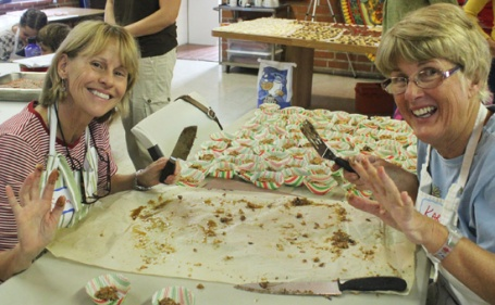 Susan and Karen cutting up the Chocolate Dream Bars at our 2012 Cookie Class.
