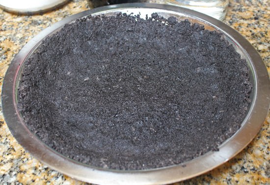 Oreo Cookie crumbs form the pie crust.
