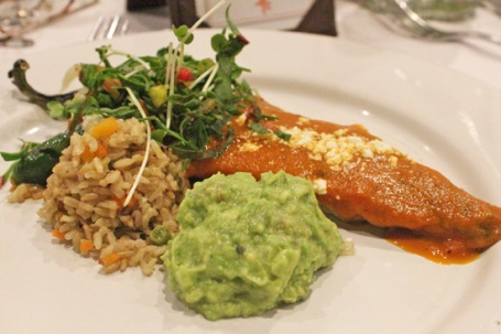 Chile Relleno with Poblano Rice, Ranch Guacamole and Oregano Sauce.