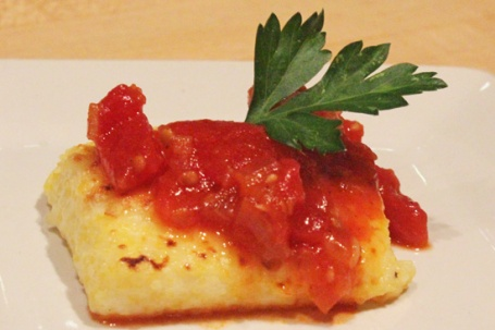 Grilled Polenta Squares with Tomato and Onion Sauce