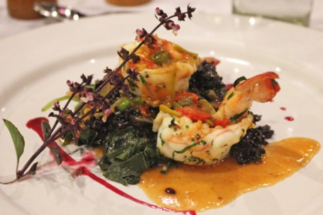 Spicy Shrimp with Black Rice and Veracruzana Sauce