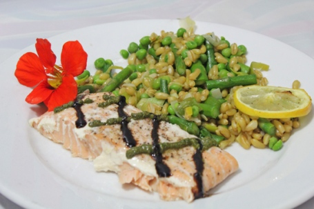 Salmon with Balsamic & Pesto Drizzles.