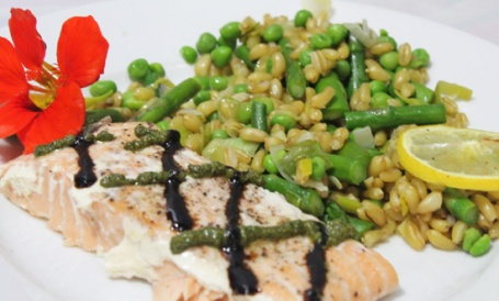 Kamut with Asparagus, Peas and Roasted Lemon pairs well with Salmon.