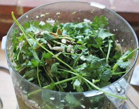 Combine, spinach, cilantro stems and leaves to make this emerald green sauce.
