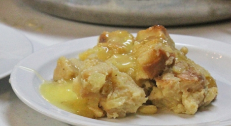 Bread Pudding with Pineapple, Raisins, Pine Nuts and Tequila Sauce